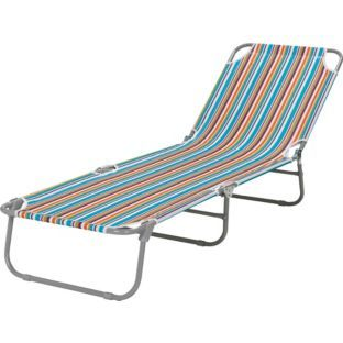 Buy folding sunbed striped at your online for Chaise lounge argos