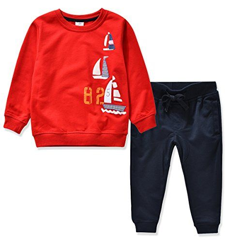 c27fa8915bbe Miniowl Kids Boys Clothing Sets Ship Pattern Long Sleeve T-shirt Pants 2T-6T