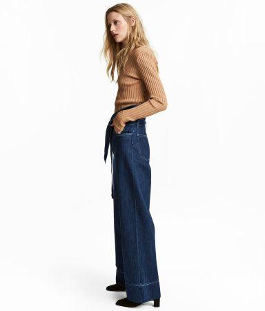 d6ff7ca579 Wide-leg Denim Tie-belt Pants | Denim blue | WOMEN | H&M US | Oh La ...