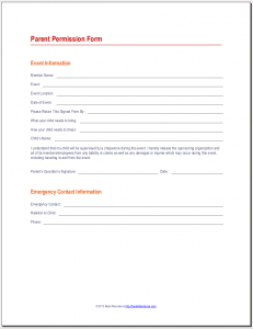 Parent Permission Form  Youth Ministry Leadership Ideas