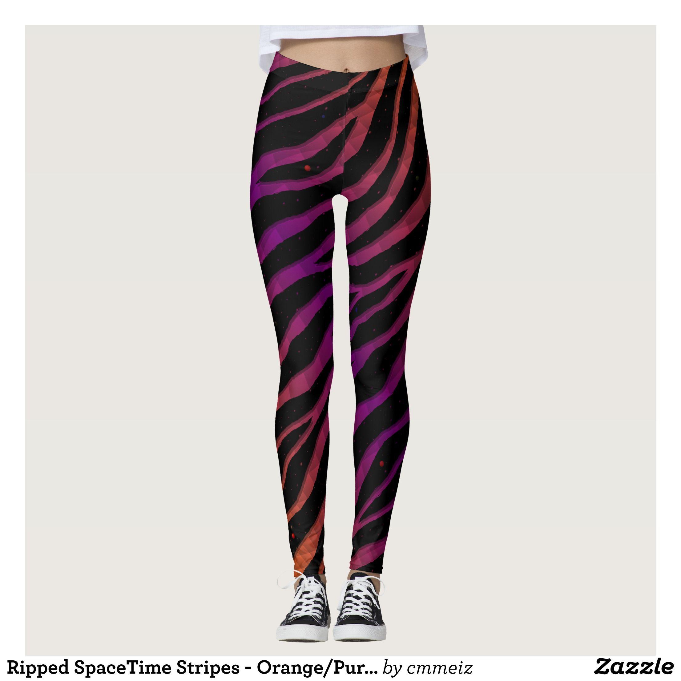 9183f039ed7 Ripped SpaceTime Stripes - Orange Purple Leggings   Beautiful  Yoga Pants -   Exercise