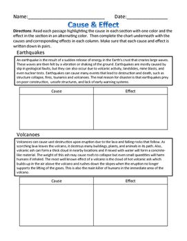 Cause & Effect - Natural Disasters Nonfiction, Worksheet & Foldable ...