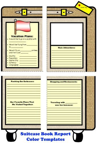 Main Character Vacation Suitcase Book Report Project Language Arts