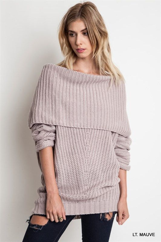 the best fold over / off the shoulder sweater in camel and grey ...