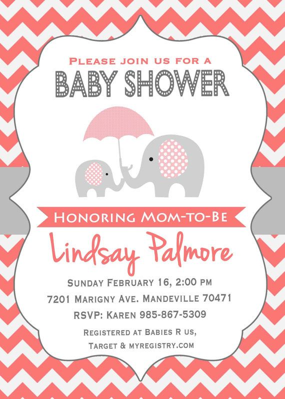 Elephant Baby Shower Invitation / Coral by SweetProvidence on Etsy ...