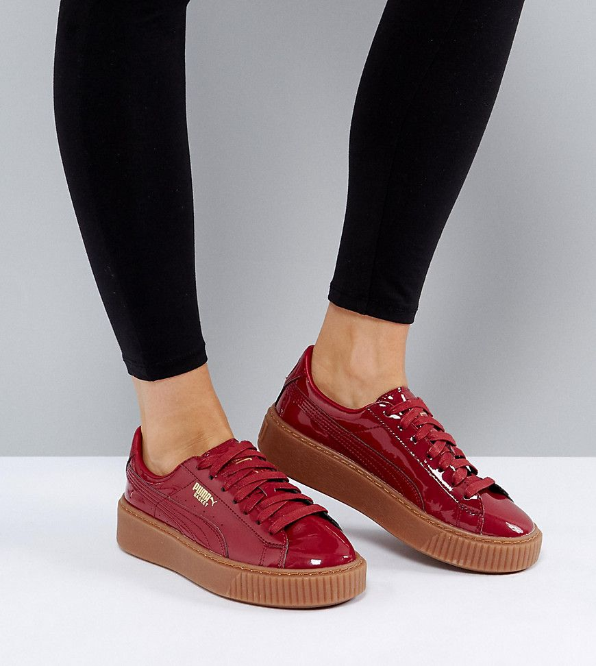 7dbf3e6fd8bb PUMA PATENT BASKET PLATFORM SNEAKERS WITH GUM SOLE IN BURGUNDY - RED. #puma  #shoes #