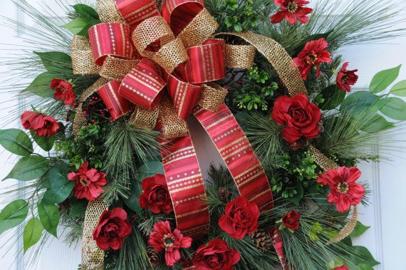 FOR SALE ON ETSY Christmas Wreath with beautiful crimson by HeatherKnollDesigns