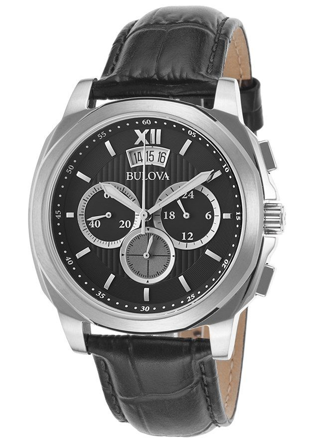 Bulova Watches Men's Classic Chronograph Black Genuine Leather and Dial SS 96B218,    #Bulova,    #96B218,    #Casual