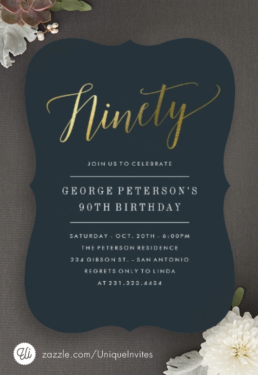 Modern 90th Birthday Invitations