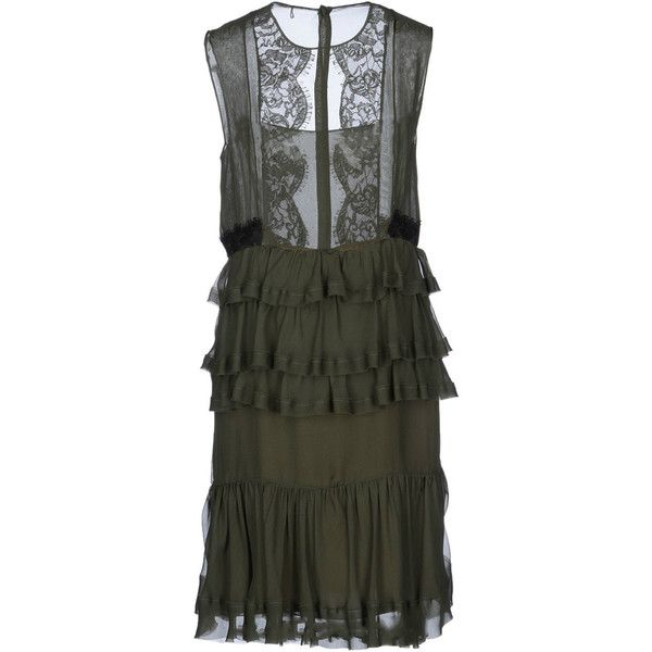 Emilio Pucci Knee Length Silk Cocktail Lace & Ruffled Dress ($500) ❤ liked on Polyvore featuring dresses, emilio pucci, olive green, sleeveless cocktail dress, holiday dresses, cocktail dresses, knee length evening dresses and lace evening dresses