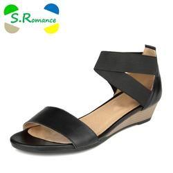 b122f7245d96c6 S.Romance Plus Size 34-42 Women Sandals Genuine Leather Fashion Summer  Sweet Flats