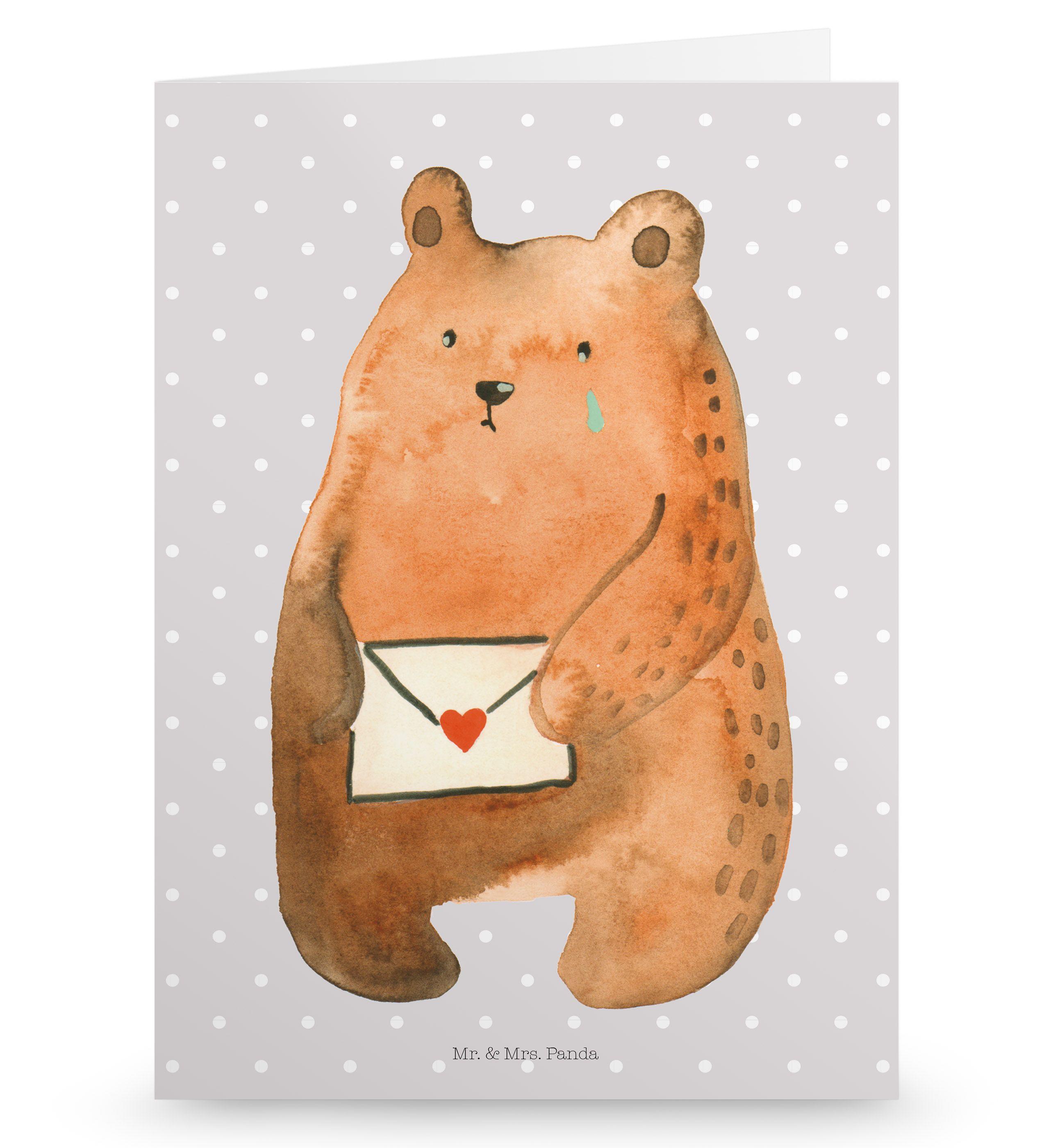 Grußkarte Bär Ich vermisse dich aus Karton 300 Gramm weiß