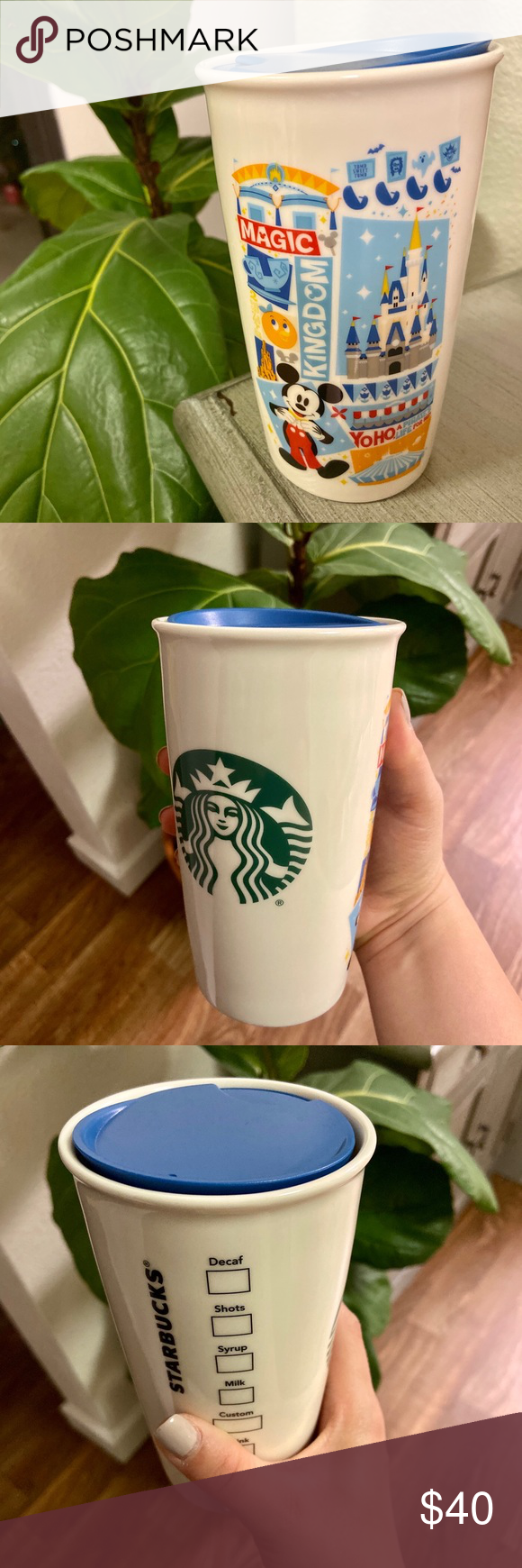 Starbucks Disney Cup Purchased at Starbucks inside Disney's Magic Kingdom park. Great for hot & cold drinks! Ceramic with plastic lid. Collectible!! :) Starbucks Dining Drinkware #disneycups