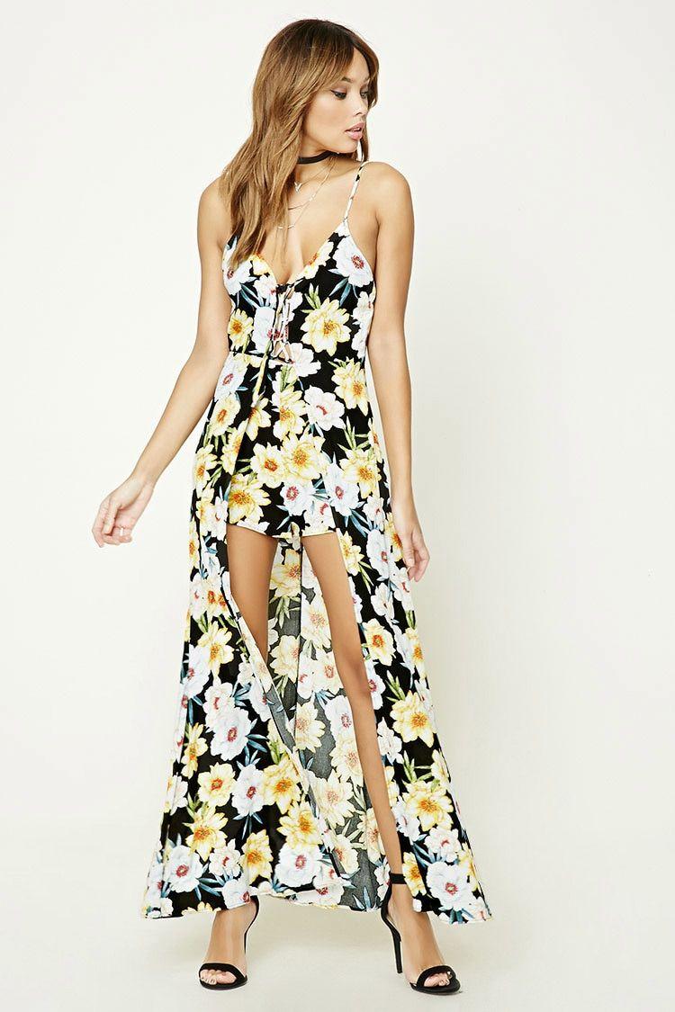 Floral v-neck romper maxi dress yellow