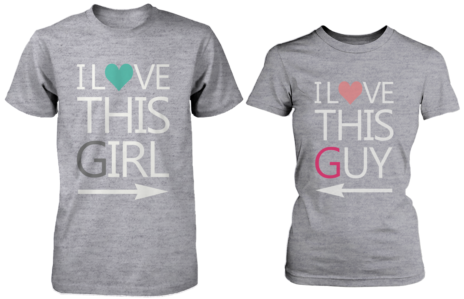 5a7544fc05 I Love This Girl & Guy Matching Couple Shirts in Grey (Set) | Love ...
