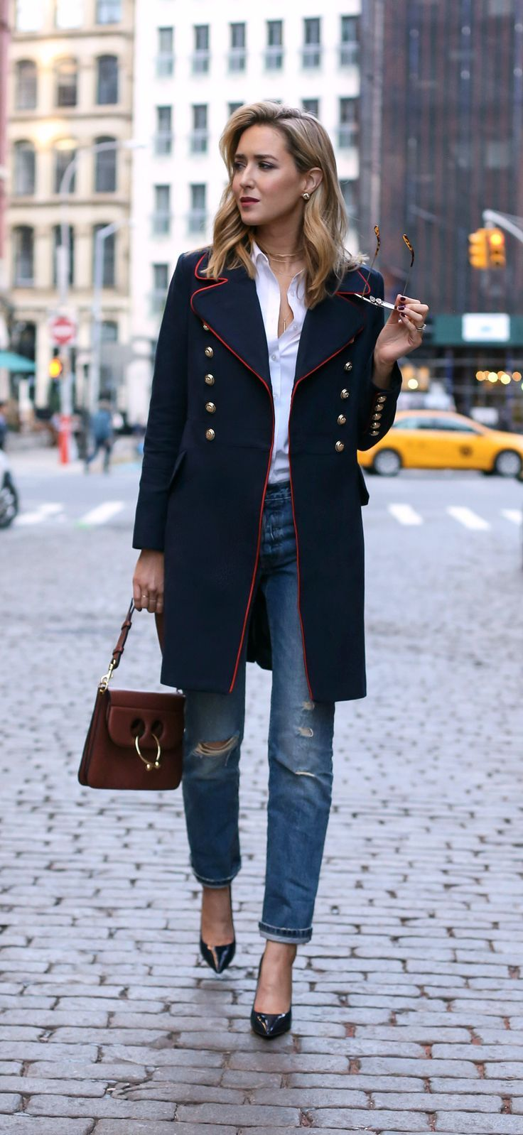 navy military coat with red piping and brass double-breasted ...