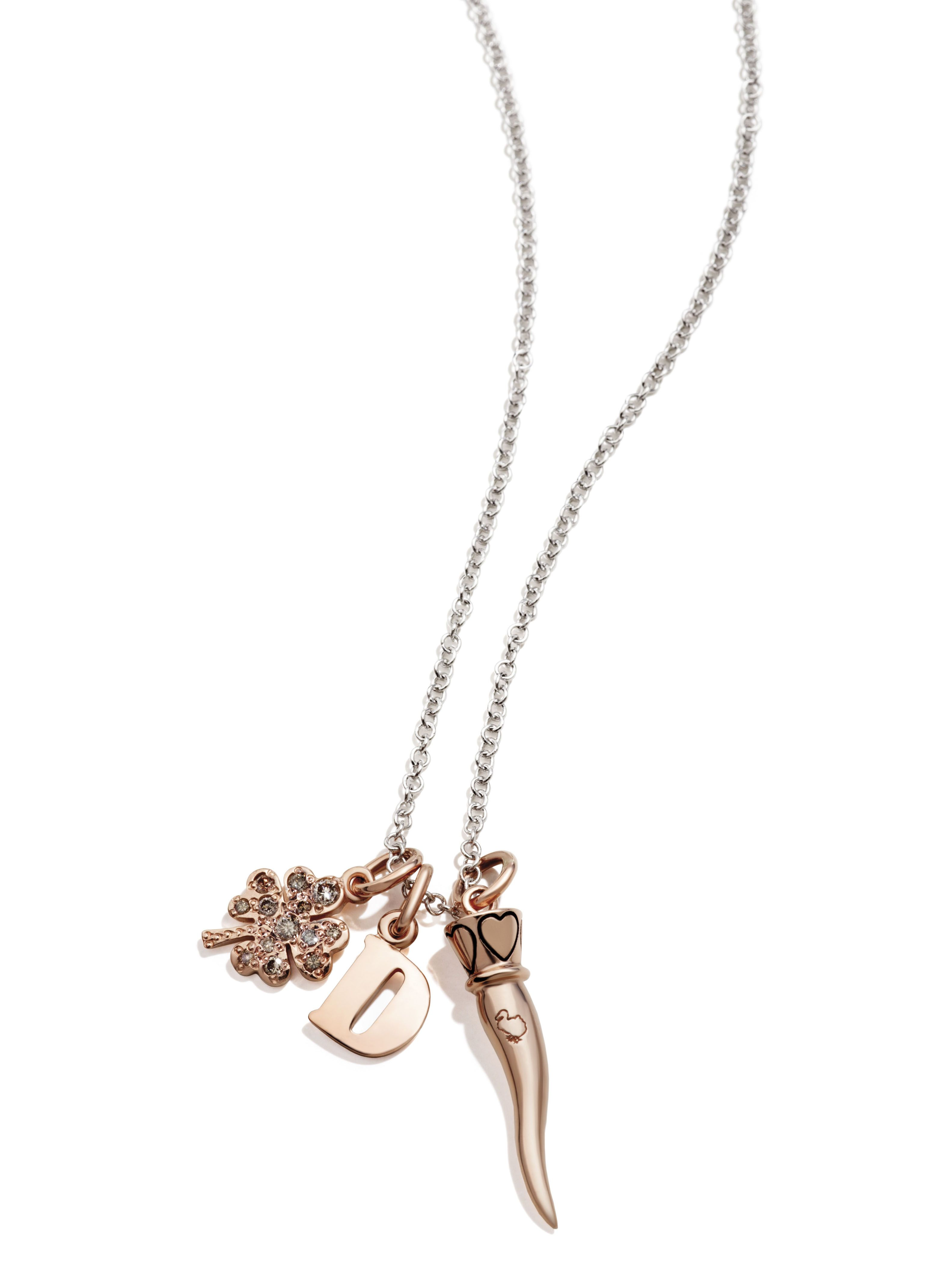 Wear your Dodo rose gold Letterina and let the brown diamond four leaf  clover and corno charm bring you the best of luck! bf1ac78b70