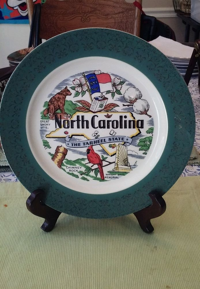VINTAGE 10 INCH HOMER LAUGHLIN NORTH CAROLINA PLATE/STAND