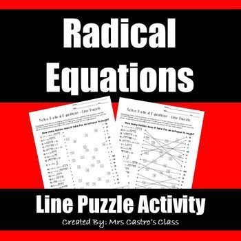 Simple Harmonic Motion Worksheet Word Solving Radical Equations Line Puzzle Activity  High School Math  Thurgood Marshall Worksheets with Comparing And Ordering Fractions Worksheets Word Solving Radical Equations Line Puzzle Activity Beginner Fraction Worksheets Word