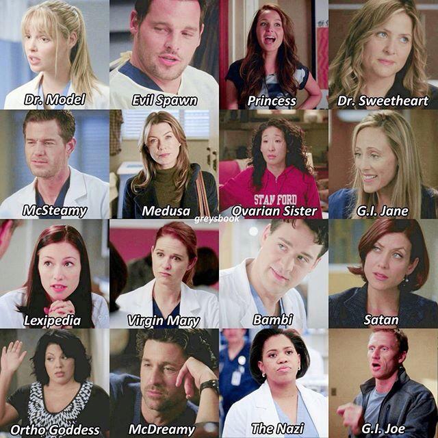 Greys Anatomy character nicknames