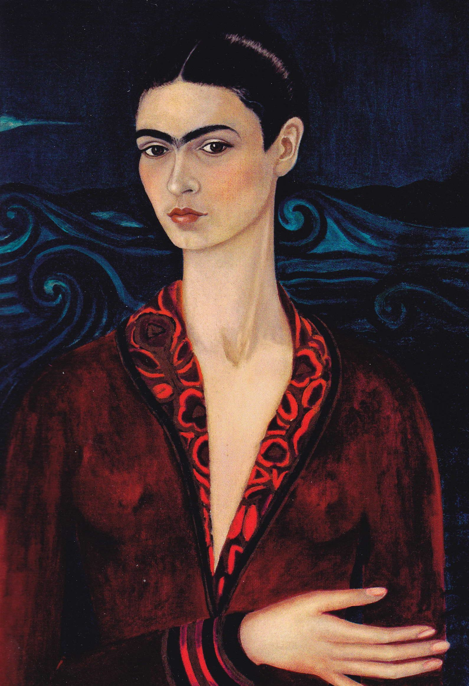 frida kahlo, 1926 autoportrait a la robe de velours on exhibit at musee de l'orangerie | Frida ...