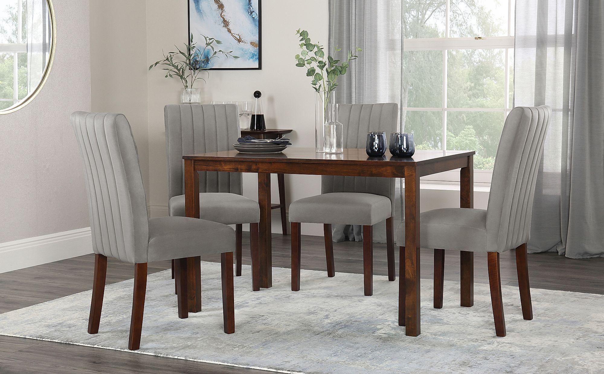 Milton Dark Wood Dining Table With 6 Salisbury Grey Velvet Chairs