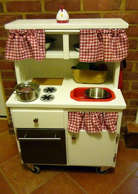 Another Cute Homemade Play Kitchen Kids Play Kitchen