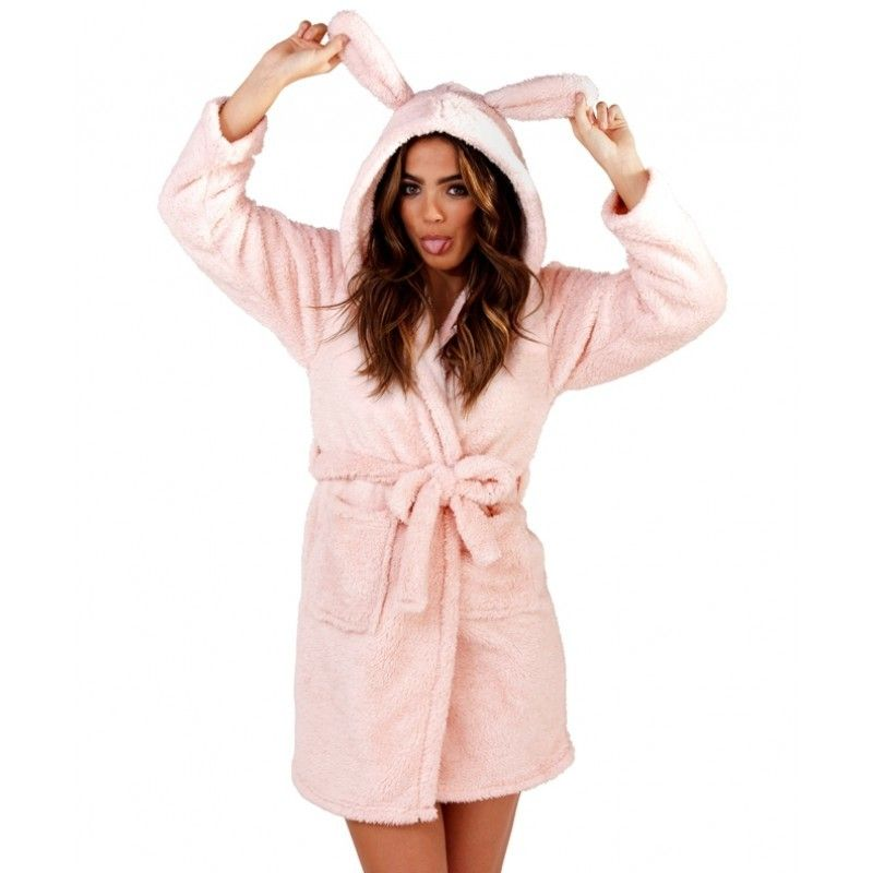 Ladies Pink Sparkle Fleece Bunny Hood Short Bath Robe | Bath robes ...