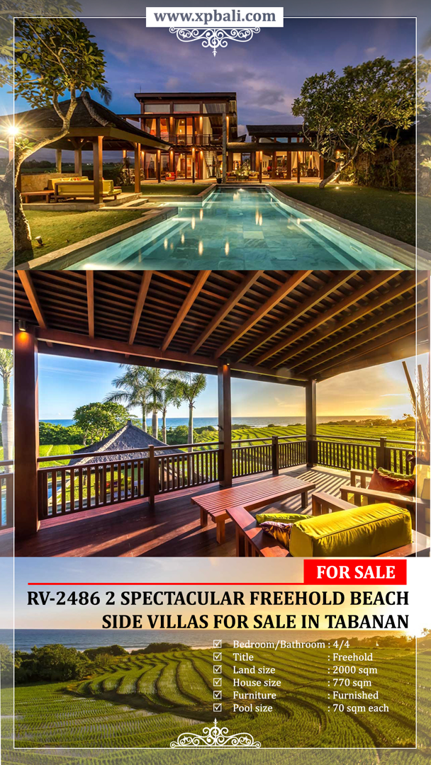 2 Spectacular Freehold Beach Side Villas For Sale In Tabanan Xclusive Property Bali Villa Freehold Spectacular