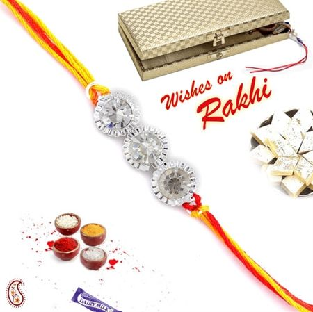 Picture of white crystal and Silver rings Rakhi in Premium Gift box