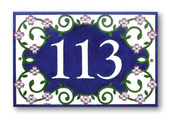 Flowering Dogwood House Numbers Sign Address Painted Ceramic Tile Number Plaque Ceram