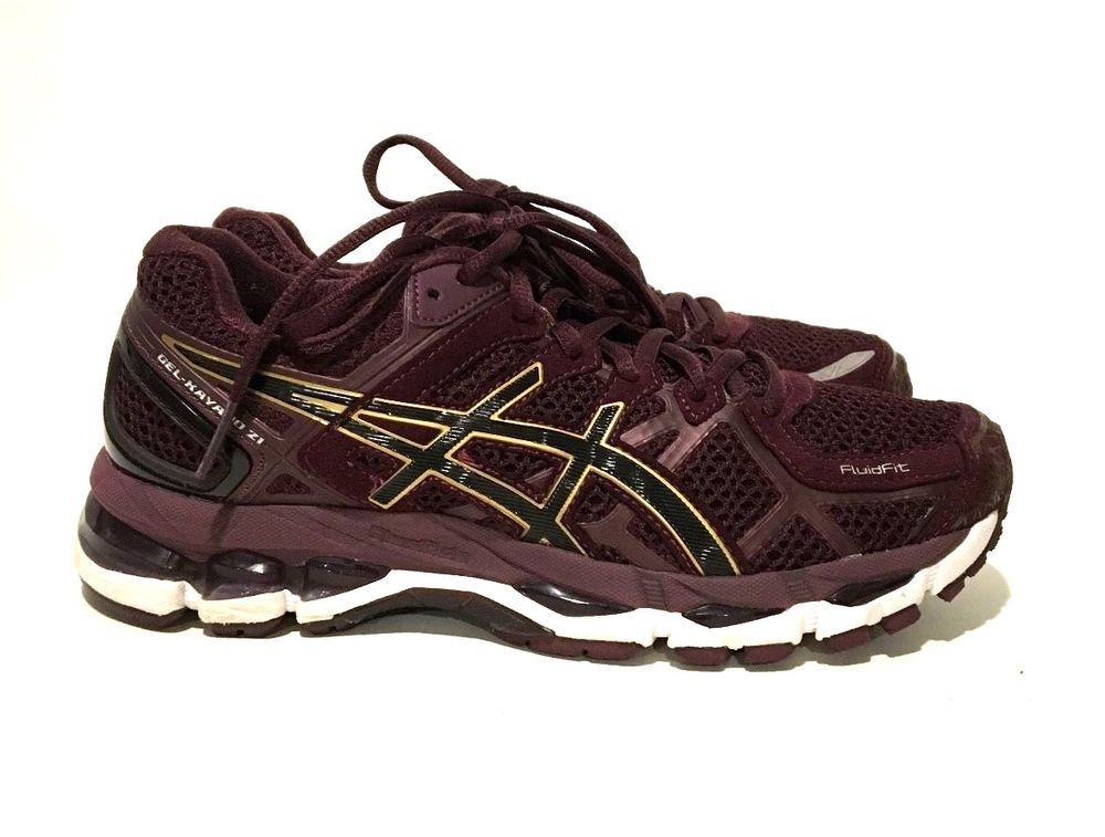 Asics Gel-Kayano 21 Women's Running Shoes Plum/Gold/Plum t4h7n-3701 Size 7  EUC