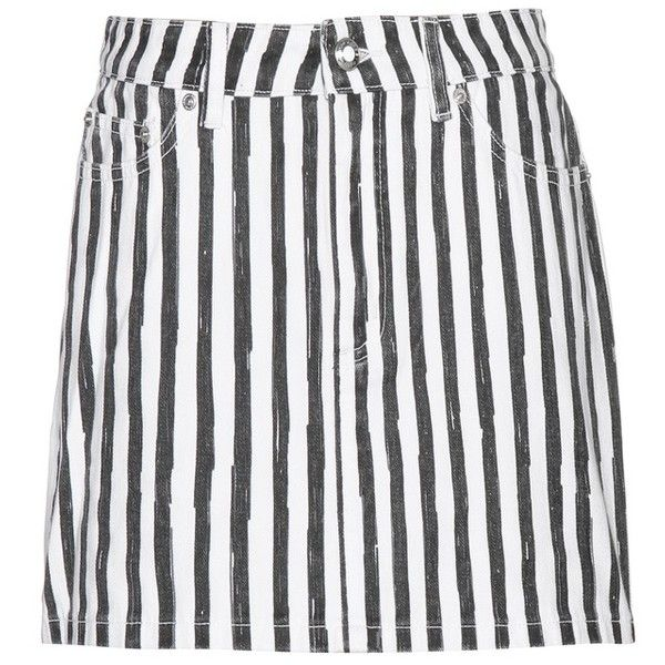 Marc by Marc Jacobs Icon Striped Denim Miniskirt (275 AUD) ❤ liked on Polyvore featuring skirts, mini skirts und white