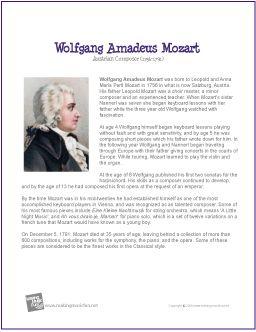 Wolfgang Amadeus Mozart | Printable Biography Beautiful Bio sheets ...
