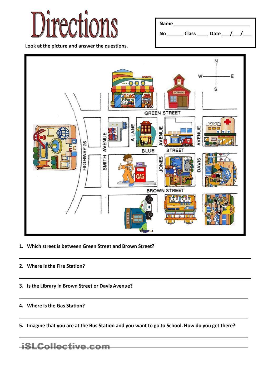 directions english worksheets angol nyelvtan angol nyelv nyelvtan. Black Bedroom Furniture Sets. Home Design Ideas