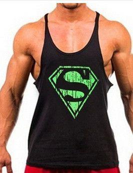 efc22cb85ffc9 Superman Gym Singlets Mens Tank Tops Shirt