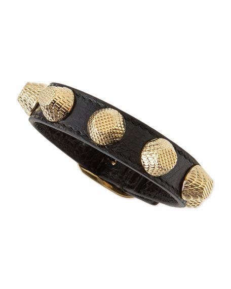 Leather Golden Stud Bracelet