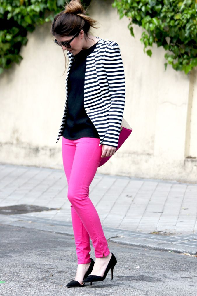 Recently picked up a pair of Pink pants. Pair with BW stripes :)