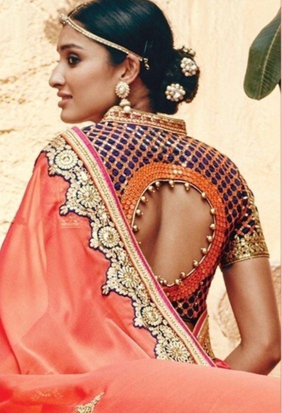 Blouse back designs design ideas saree choli also unique spotted on real brides indian rh pinterest