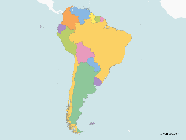 Map Of South America With Multicolor Countries Free Vector Maps Map Vector Vector Free Map