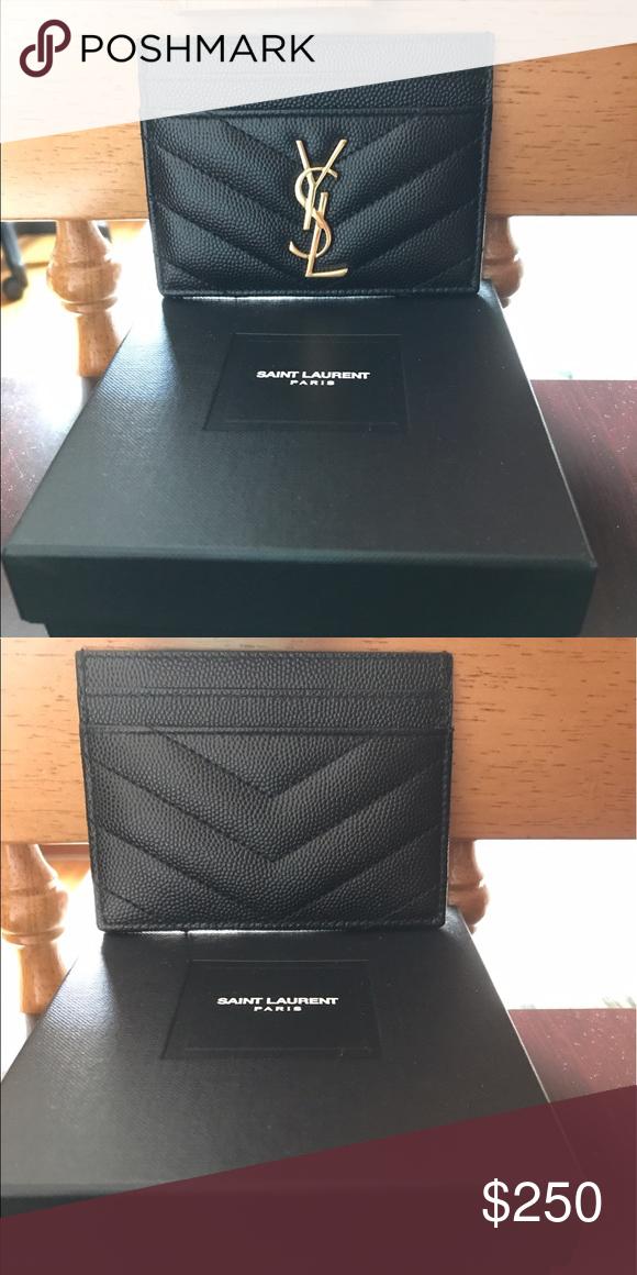 YSL Monogram Credit Card Case Ysl card case. Black leather