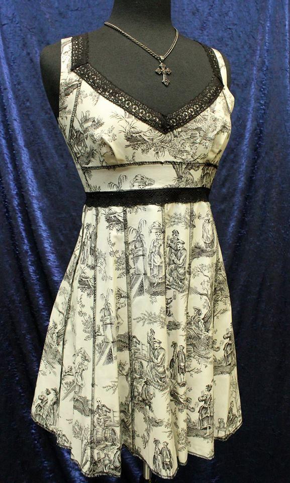 f60c5e02773 Vintage Style Cocktail Dress - Dia de los Muertos Pastoral Print    Shrine  of Hollywood