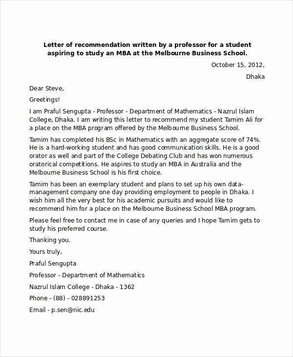 Peer Letter Of Recommendation Inspirational 6 Sample Mba Re Mendation Letters Pdf Word In 2020 Letter Of Recommendation Letter A Words Business Letter Template