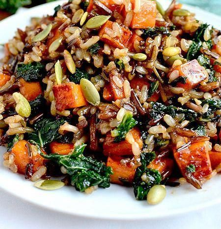 WILD RICE WITH CARAMELIZED SWEET POTATOES SHALLOTS AND MUSHROOMS Perfect fall side dish or vegetarian meal