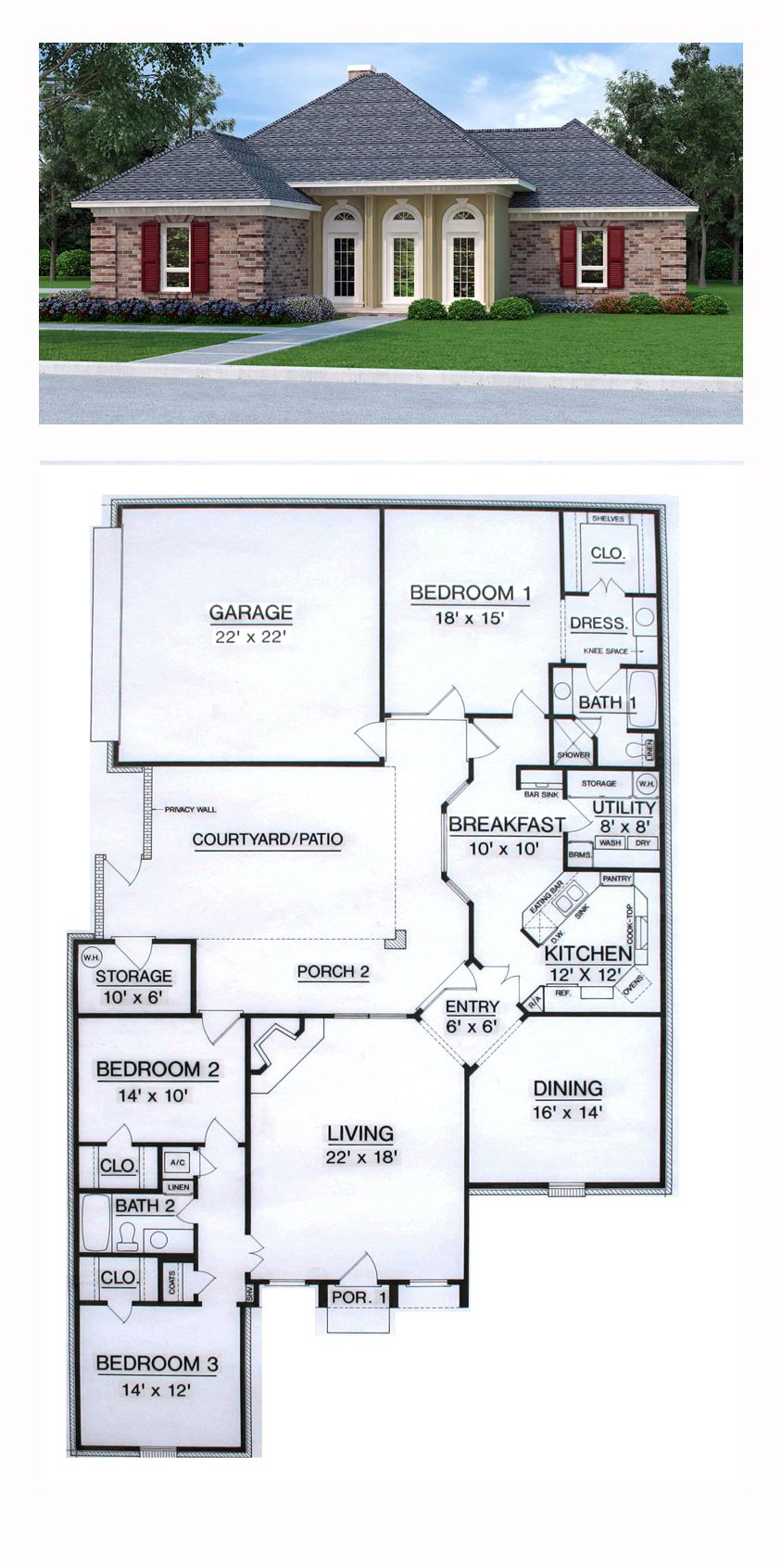 House Plan 76909 With 3 Bed 2 Bath 2 Car Garage Courtyard House Plans House Plans Courtyard House