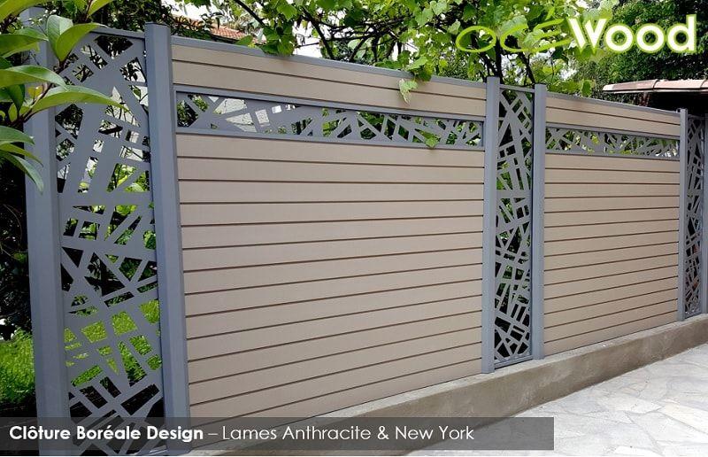 Cl ture oc wood gamme bor ale design lames composites anthracite lame d co aluminium new for Cloture aluminium anthracite