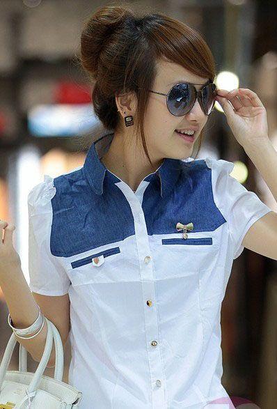 Japan Style Sliczna Bluzka Koszula Damska Jeans M 2778813301 Oficjalne Archiwum Allegro Denim Vest Fashion Shirts