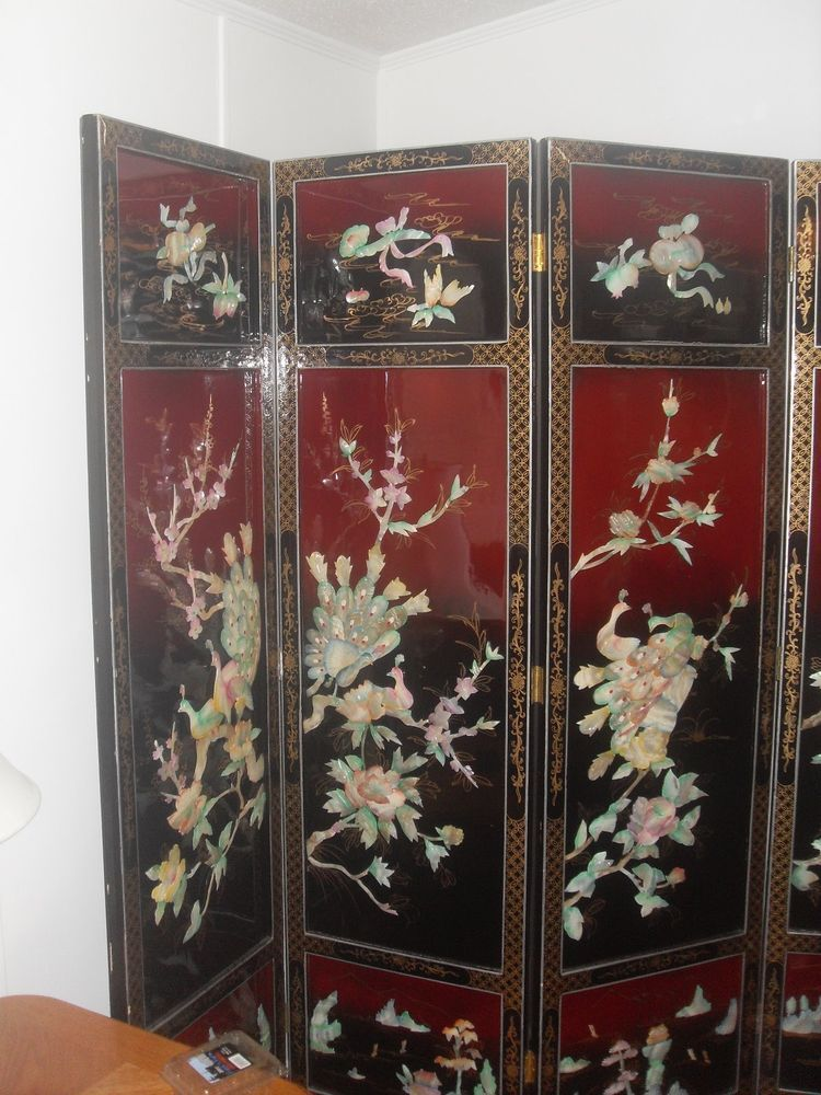 Vintage Asian Carved Shell Mother Of Pearl Room Divider