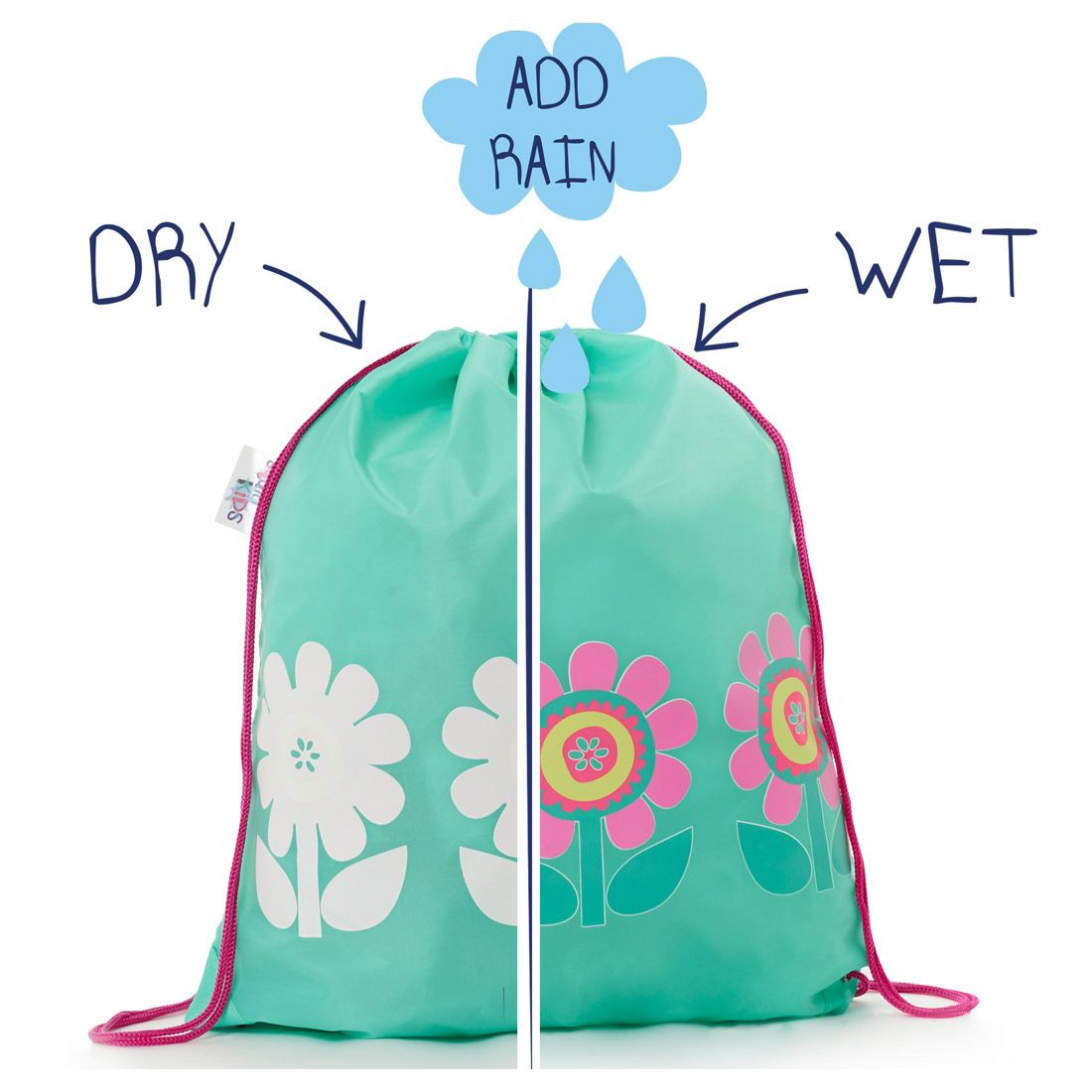 This is a Mint Green colour changing kids drawstring bag with a ...