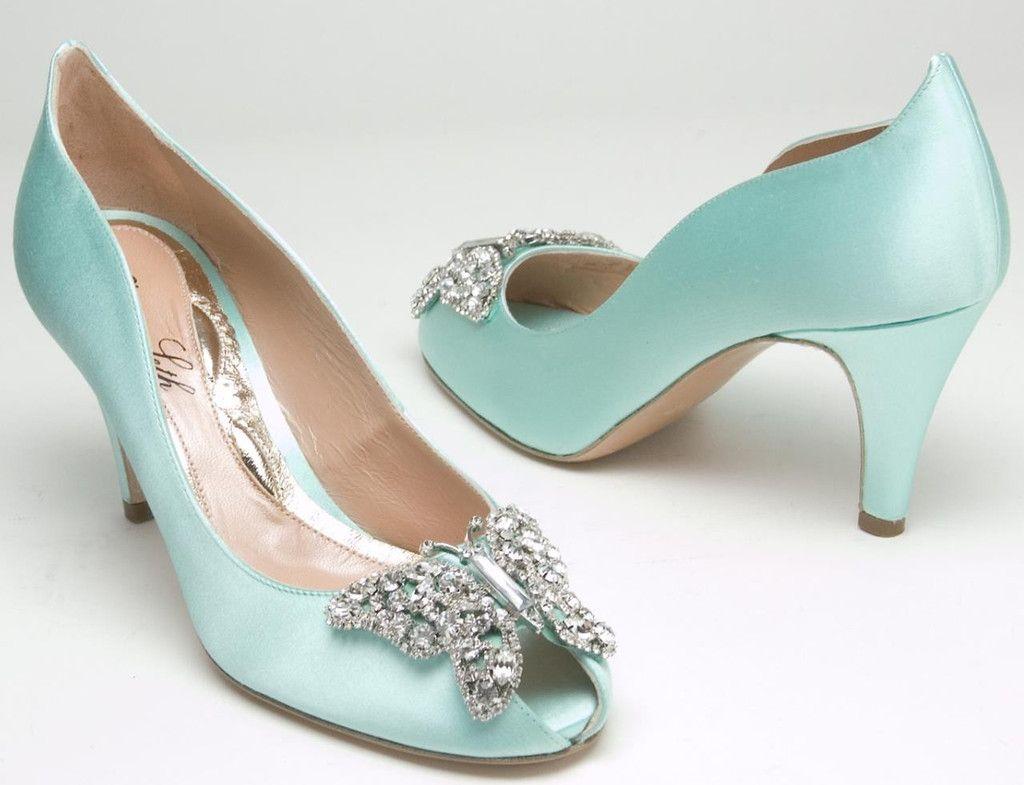 Farfalla 70mm Heel in Tiffany Blue Satin Shoes | Aruna Seth ...